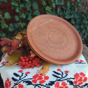 Блинная тарелка из красной глины