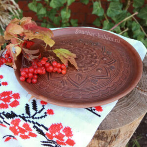 "Глиняная большая тарелка ""Любава"""